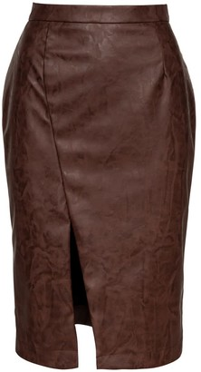 Conquista Chocolate Brown Faux Leather Pencil Skirt