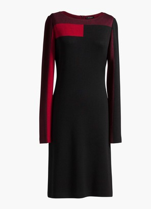 St. John Color Blocked Bateau Neck Dress