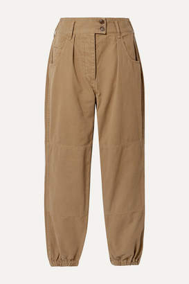 Nili Lotan Military Cropped Cotton-twill Tapered Pants - Sand