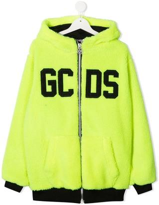 Gcds Kids TEEN logo print zip-up hoodie