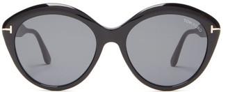 Tom Ford Maxine T-monogram Round Acetate Sunglasses - Black