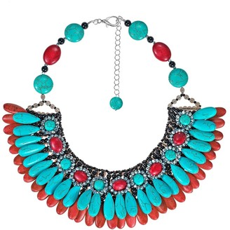 Aeravida Handmade Glam Cascading Teardrop Turquoise and Coral Bib Necklace