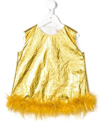 Pamilla Kids Feather Trim Metallic Dress
