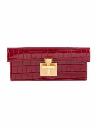 Oscar de la Renta Alibi Embossed Leather Clutch Red