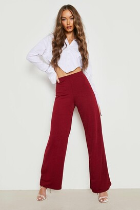 boohoo High Waist Basic Crepe Wide Leg Trousers
