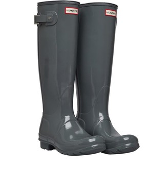 Hunter Womens Tall Gloss Wellington Boots Feather