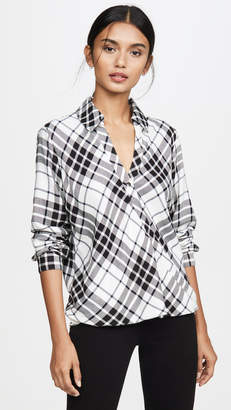 Splendid Beckett Plaid Surplice Top