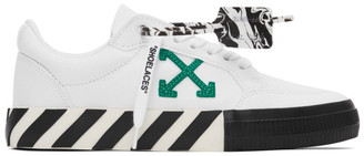 Off-White White and Green Low Vulcanized Sneakers