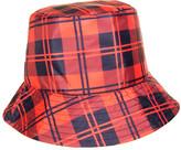 Nine West Women's Winter Hats PLAID - Red & Blue Plaid Waterproof Nylon Bucket Hat