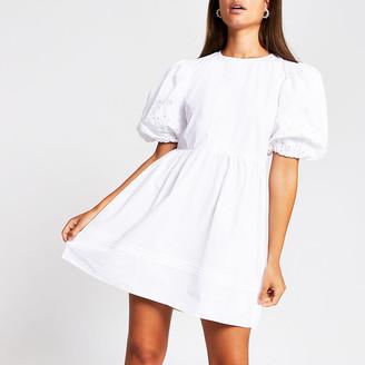 River Island White short puff sleeve broderie mini dress