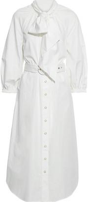 Zimmermann Espionage Bow Belted Cotton-poplin Midi Shirt Dress