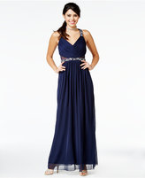 City Studios Juniors' Embellished Illusion Gown