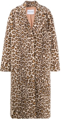 Stand Leopard Print Single Breasted Coat
