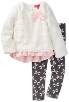 Betsey Johnson Rose Faux Fur Ruffle Bottom Top & Legging Set (Toddler Girls)