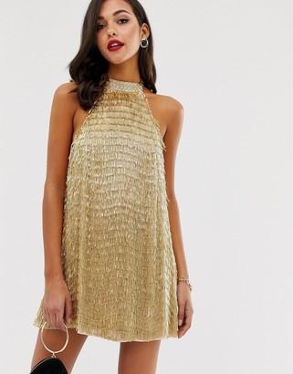 Asos DESIGN high neck mini dress in gold tassle embellishment