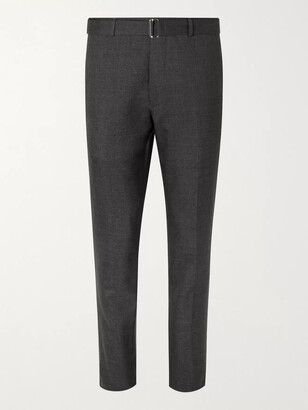 Officine Generale Paul Belted Virgin Wool Suit Trousers - Men - Gray
