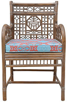 One Kings Lane Vintage Bent-Bamboo Accent Chair - Cannery Row Home - brown; cushion, aqua/salmon pink/coral