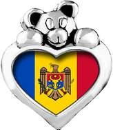 GiftJewelryShop Moldova, Republic of flag Red Zircon Crystal July Birthstone I Love You Heart Care Bear Charm