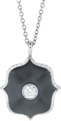 Bayco Platinum Round Diamond And Black Ceramic Lotus Necklace