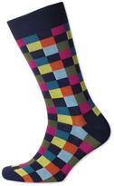 Navy Multi Check Socks Size Large