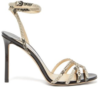 Jimmy Choo Mimi 100 Wraparound Python-print Leather Sandals - Womens - Black Multi