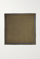 Thumbnail for your product : Saint Laurent Embroidered Printed Wool Scarf - Brown