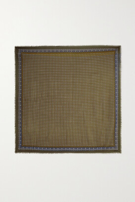 Saint Laurent Embroidered Printed Wool Scarf - Brown