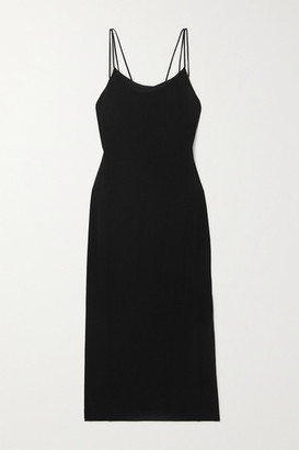 Helmut Lang Draped Jersey Midi Dress - Black