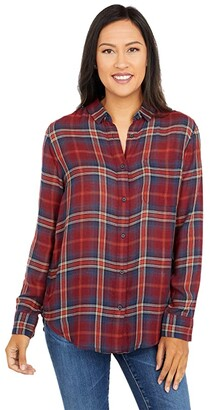 Pendleton Helena Button Front Shirt (Rust Plaid) Women's Clothing