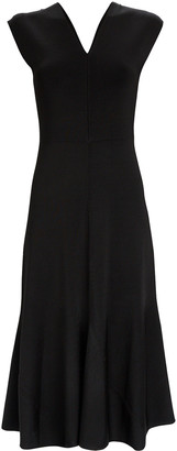 Victoria Beckham V-Neck Flared Midi Dress