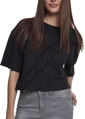 Urban Classics Women's Ladies Short Oversize Volant Tee T-Shirt