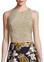 Alice + Olivia Tru Embellished Racerback Cropped Top