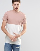 Asos Longline T-shirt With Contrast Half And Half In Pink/white