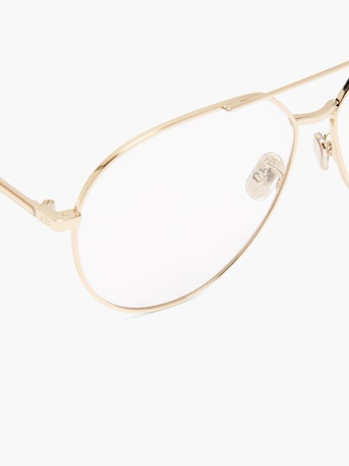 Thumbnail for your product : Christian Dior Gemdioro Oversized Aviator Metal Glasses - Gold