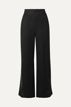 Reebok x Victoria Beckham Satin-trimmed Wool-twill Track Pants - Black