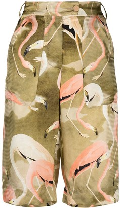 F.R.S For Restless Sleepers Knee-Length Flamingo-Print Shorts