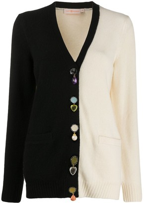 Tory Burch Colour Block Embellished Cardigan