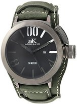 Adee Kaye Men's Quartz Stainless Steel and Leather Dress Watch, Color:Green (Model: AK7285-MIPB/BK-GN-Wide)