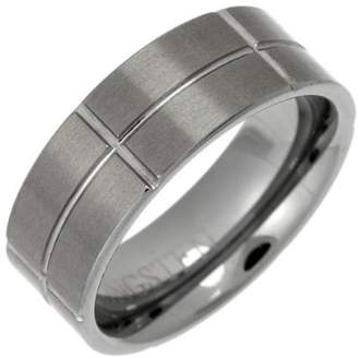 Theia Tungsten Flat Court Matt and Grooves 8mm Ring - Size U