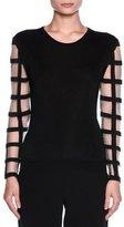 Giorgio Armani Windowpane-Sleeve Knit Sweater, Black