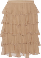 Balmain Ruffled silk-georgette skirt