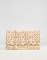 True Decadence Faux Pearl Scallop Beaded Clutch Bag