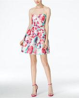B. Darlin Juniors' Strapless Floral-Print A-Line Dress
