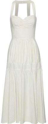 Marissa Webb Seraphina Gathered Pinstriped Woven Midi Dress