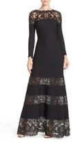 Tadashi Shoji 'Jacky' Long Sleeve Illusion Lace & Pintuck Jersey Gown (Regular & Petite)