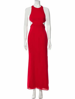 Fame & Partners Crew Neck Long Dress Red