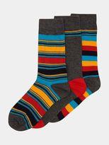 Burton Burton Glenmuir 3 Pack Grey Striped Socks