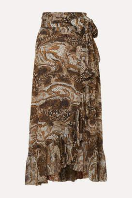 Ganni Ruffled Printed Stretch-mesh Wrap Skirt - Brown