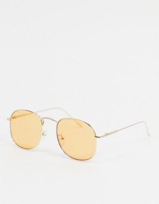 ASOS DESIGN square sunglasses in gold with orange lens