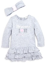3 Pommes Infant Girls' Heart Print Ruffled Dress & Headband Set - Sizes 3-24 Months